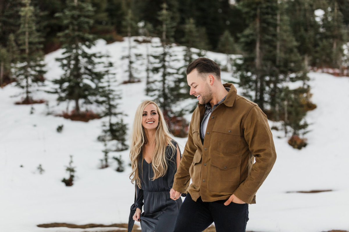 Snowy Mount Rainier Engagement Photos-16