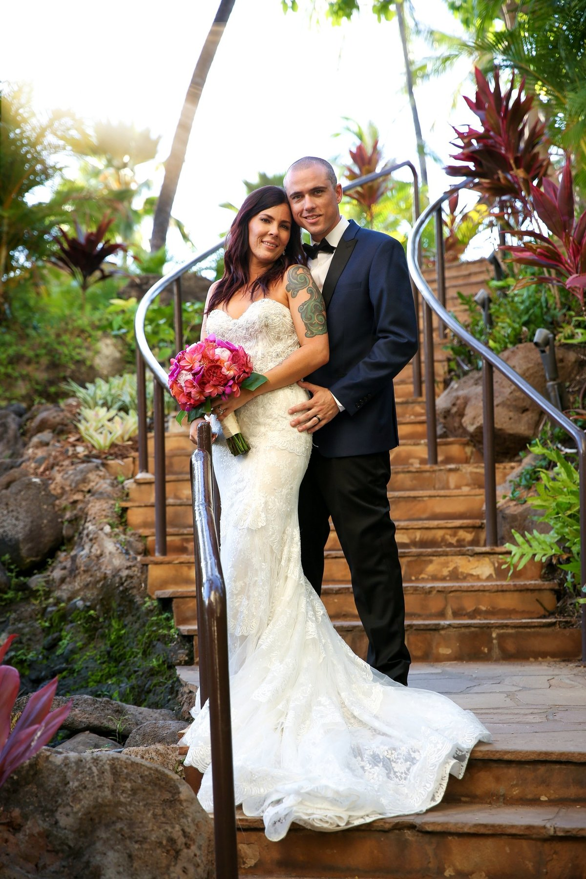 Capture Aloha Photography with Bride and Groom at Stairway