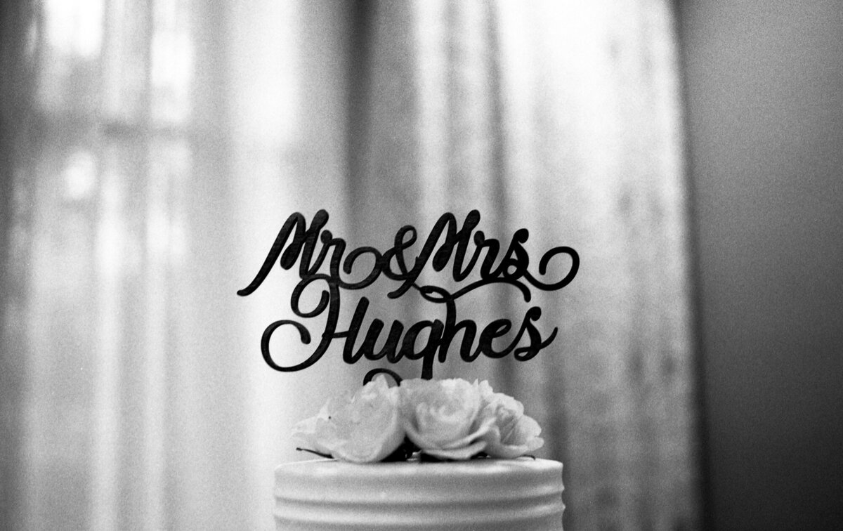 Film photo of a wedding cake topper