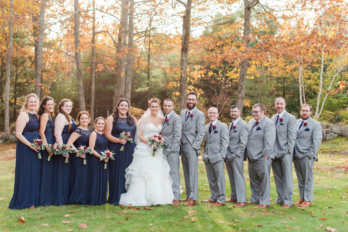 Fall wedding party photos at Clay Hill Farm
