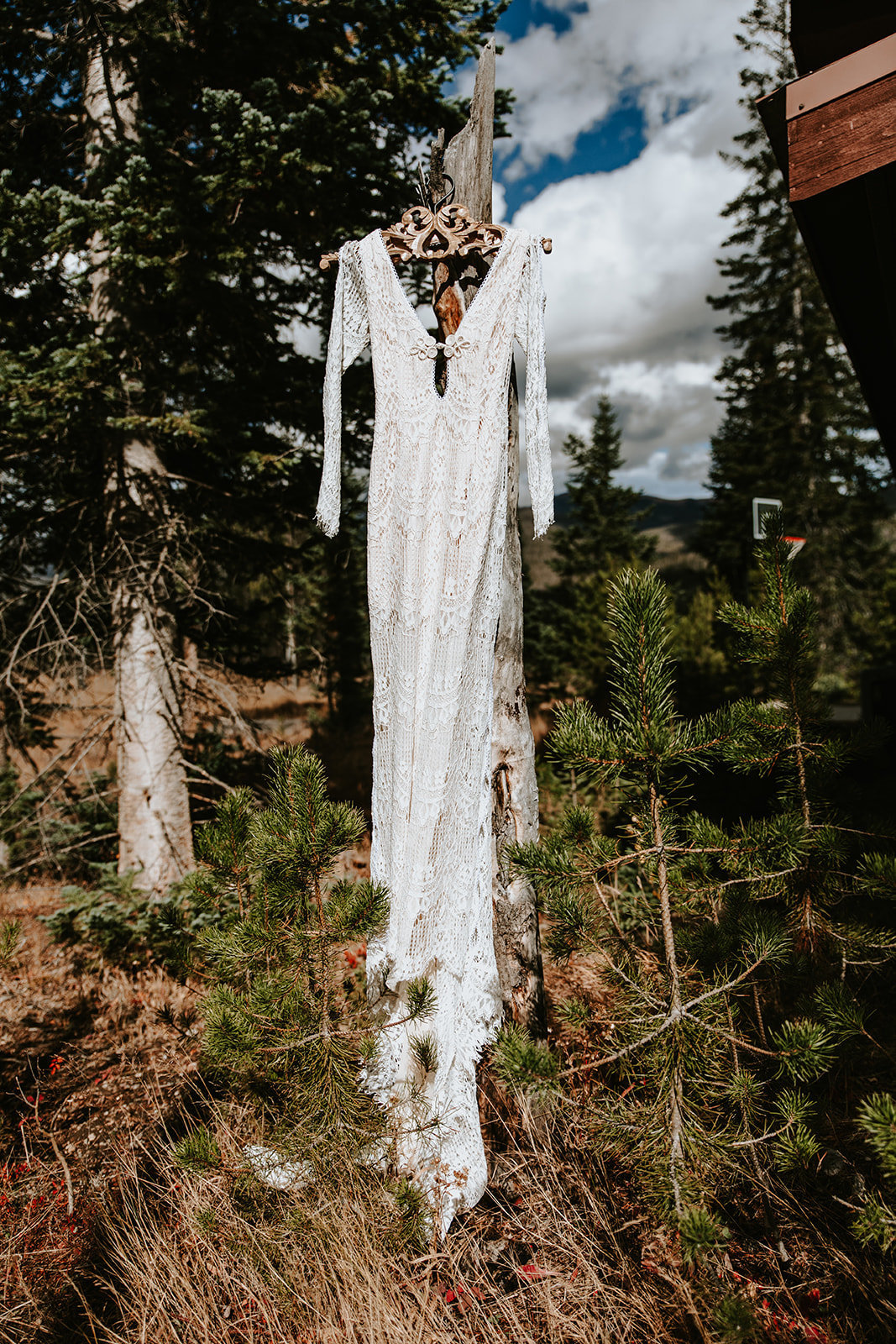 boho lace wedding dress in Grand Lake Colorado