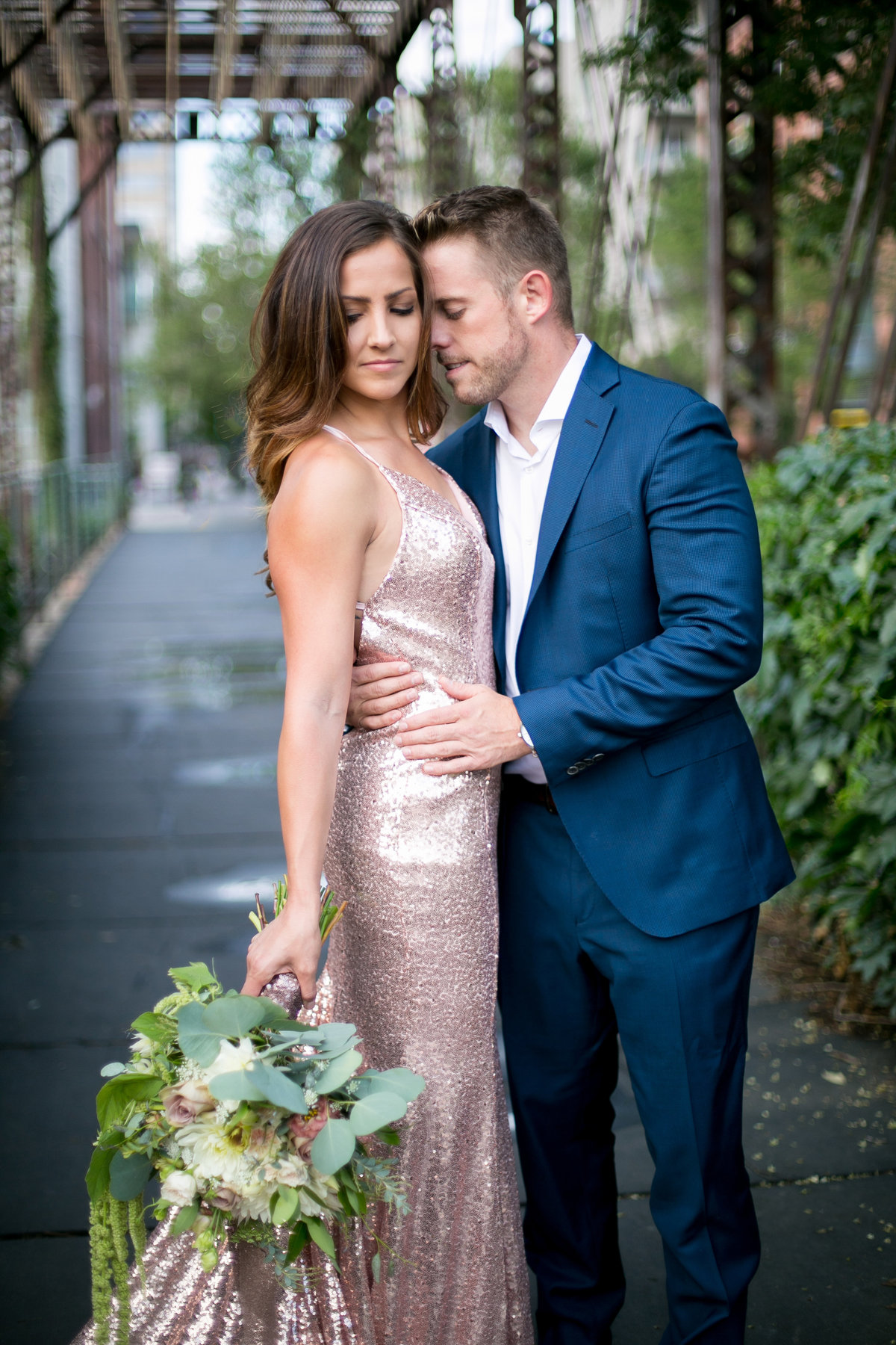 Sequin dress for engagement  photos