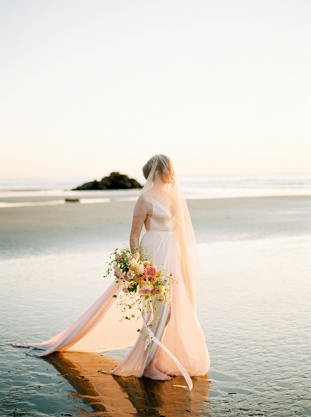 oceanside bridal portrait