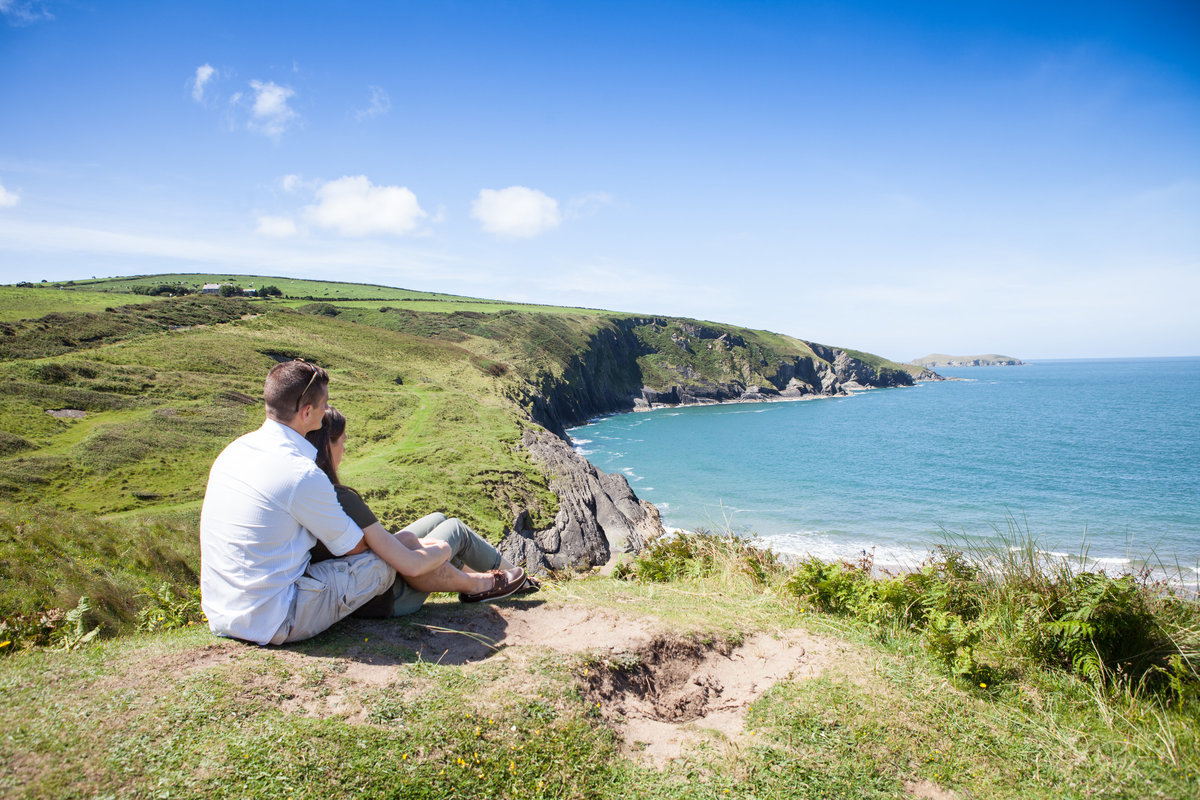 looking out at mwnt ceredigion, just engaged photos
