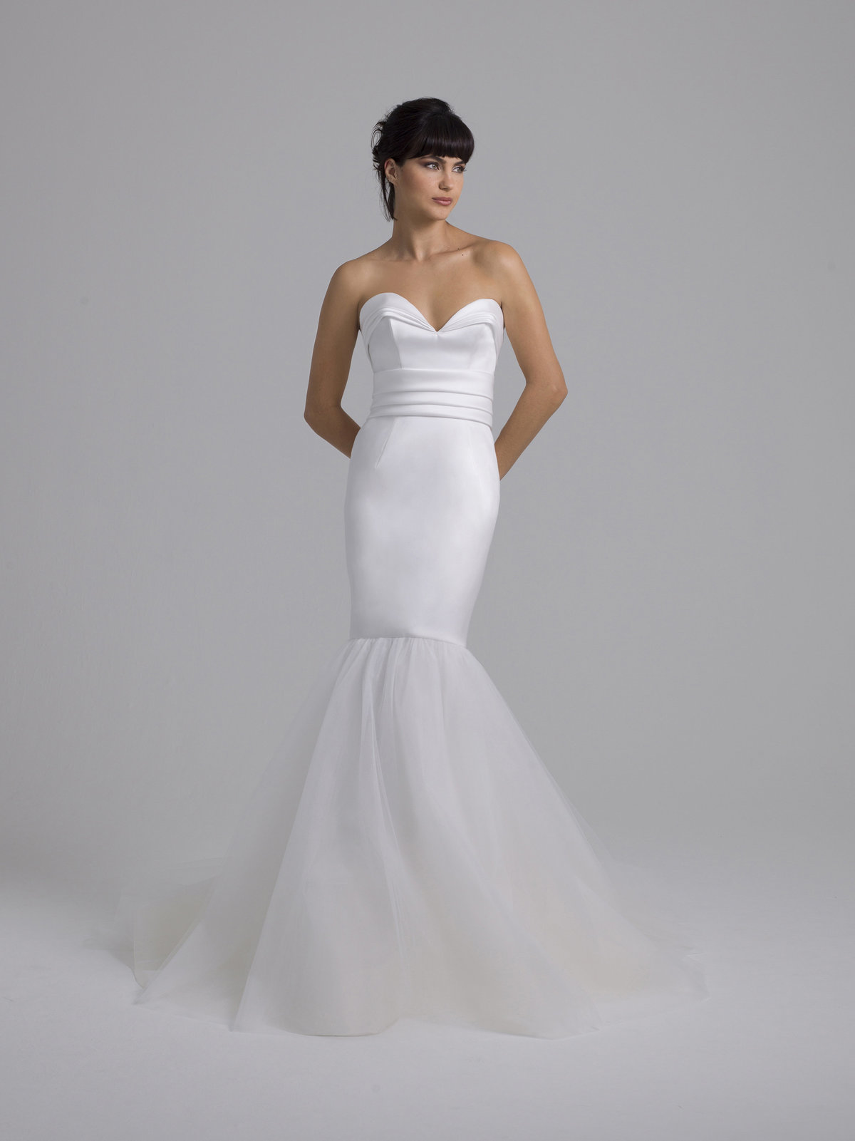 Liancarlo Trumpet Sweetheart Mikado and Tulle Gown
