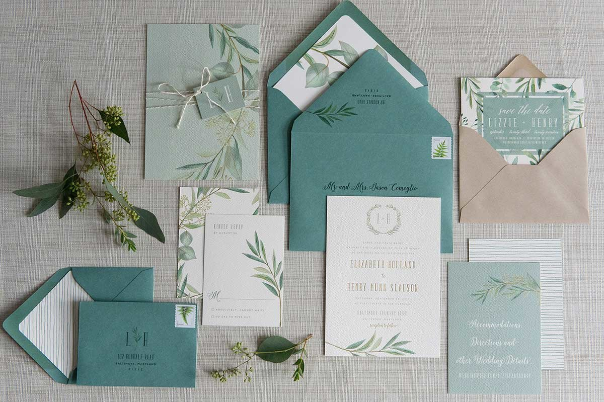 LizzieHenry_InvitationSuite-Greenery-Eucalyptus-BaltimoreCountryClub