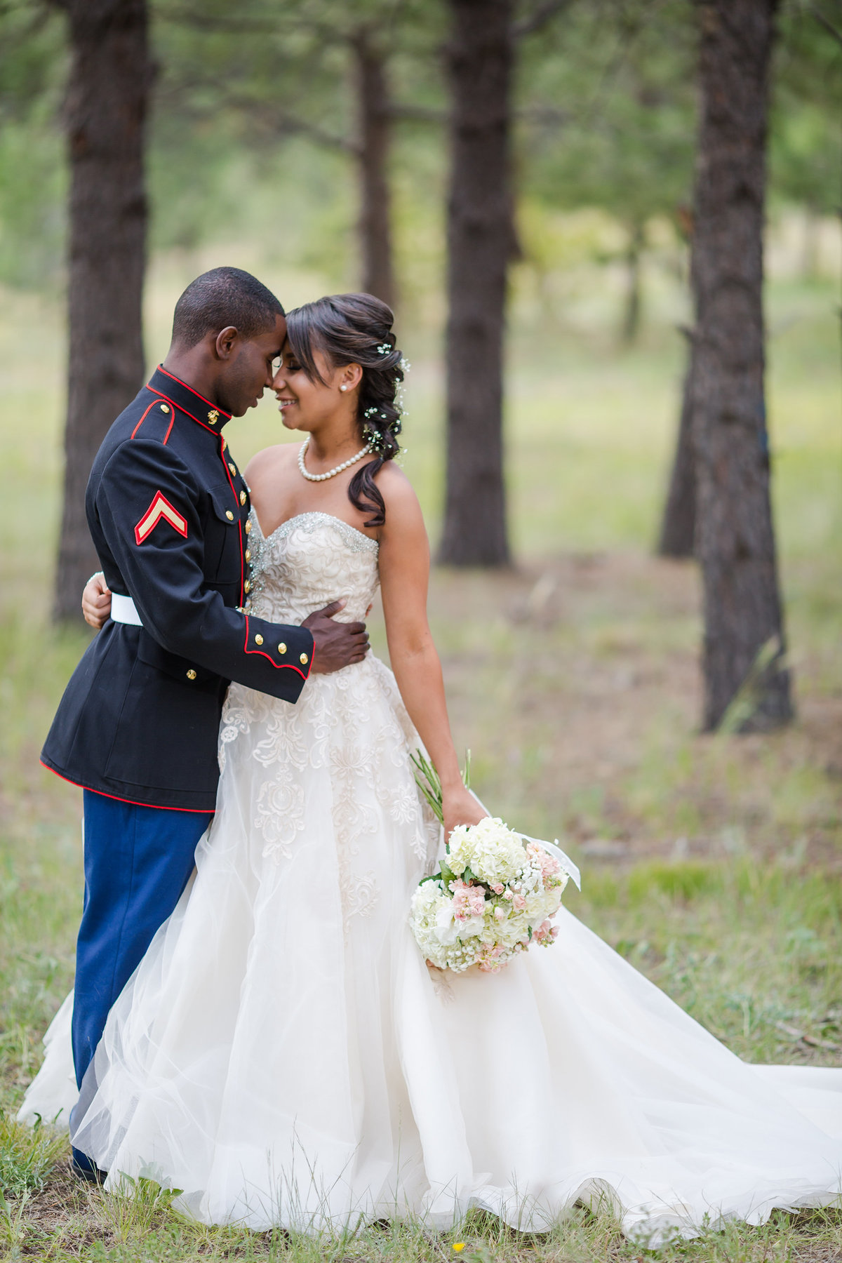military groom with bride on wedding day