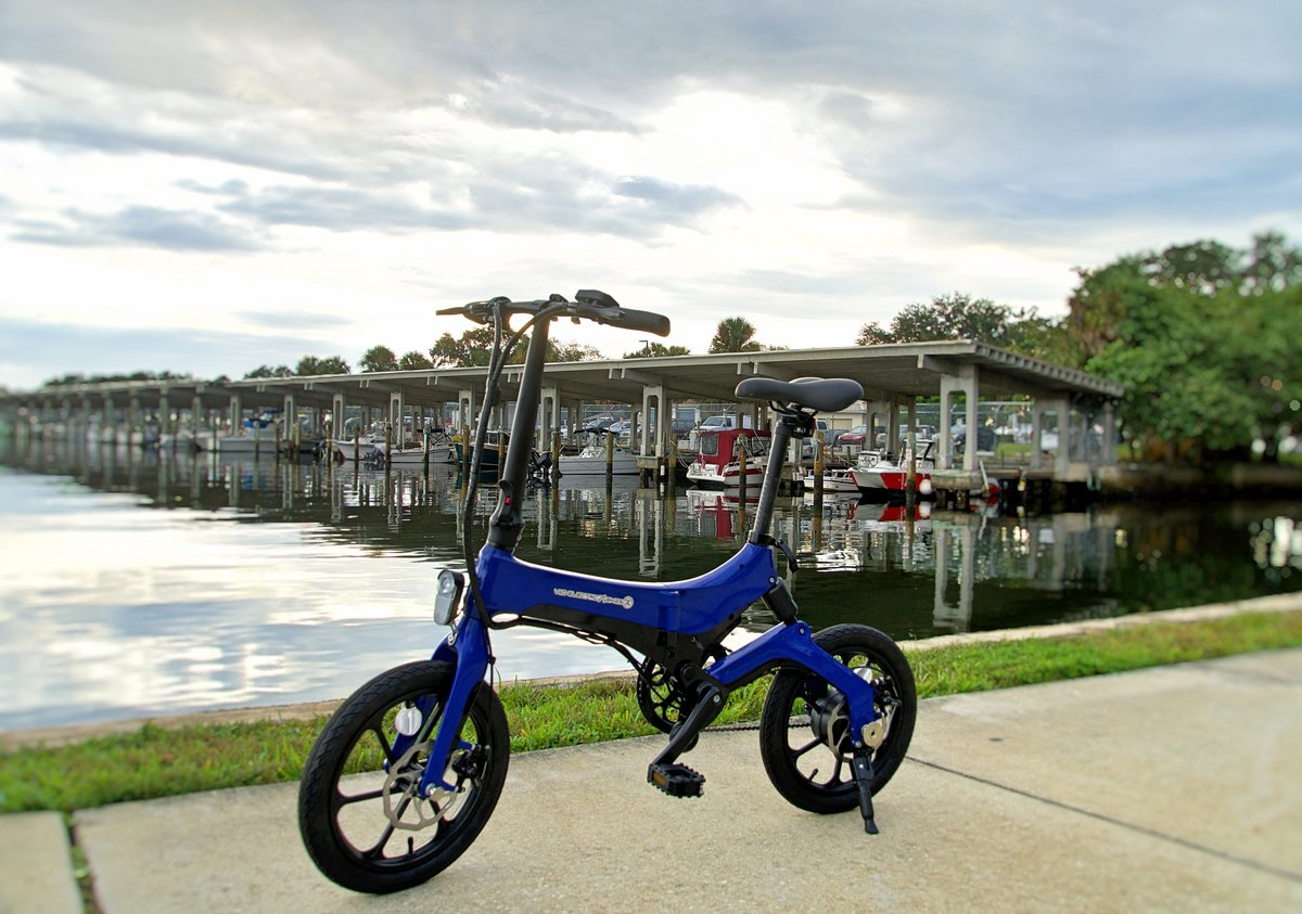 Blue Go-Bike M4 on boat dock