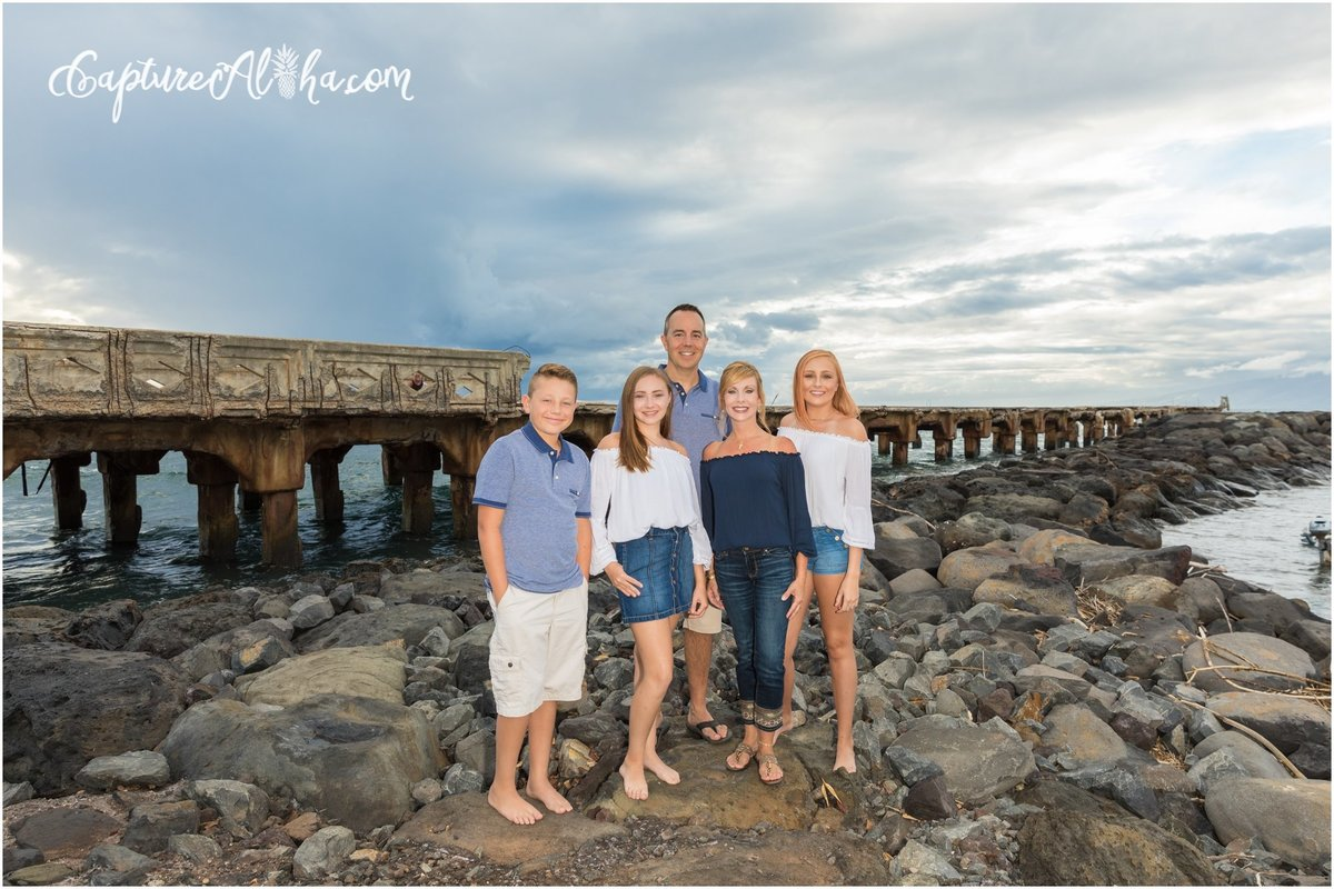 Family Portrait in Maui at the Mala Pier in Lahaina