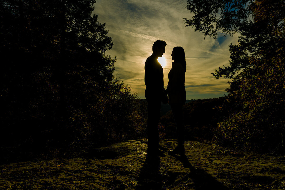 mcconells mills engagement session in the fall at sunset