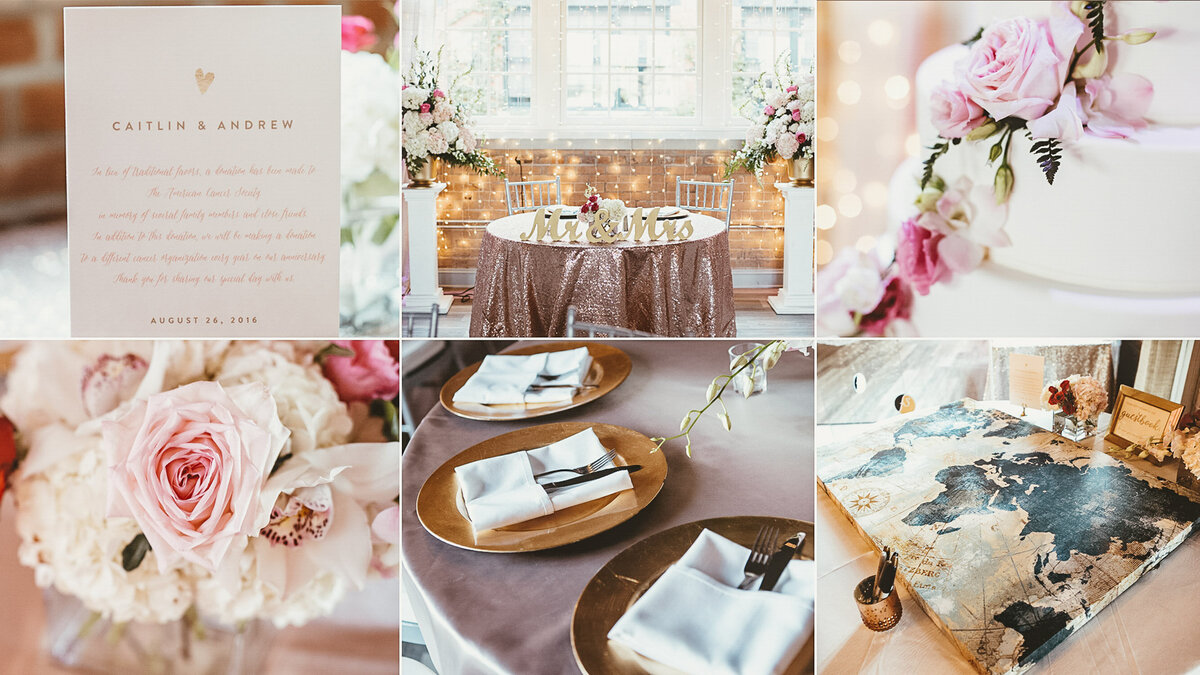 Gallery of pink floral themed wedding elements