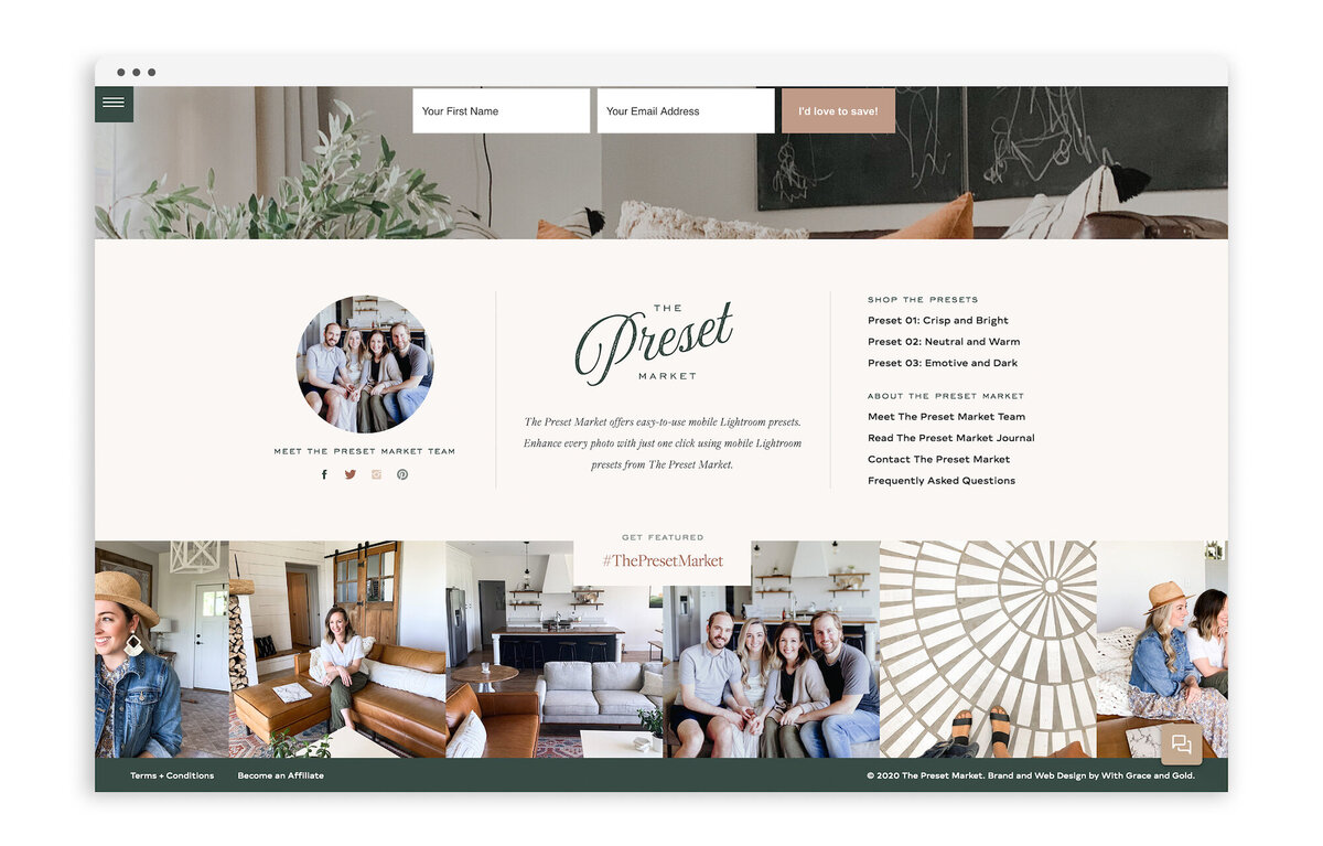 The Preset Market - Custom Brand and Showit Website Design by With Grace and Gold - 5