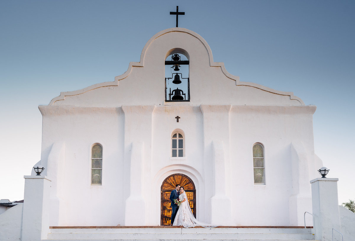 bride and groom at San Elceario  Church in el paso texas by stephane lemaire photography