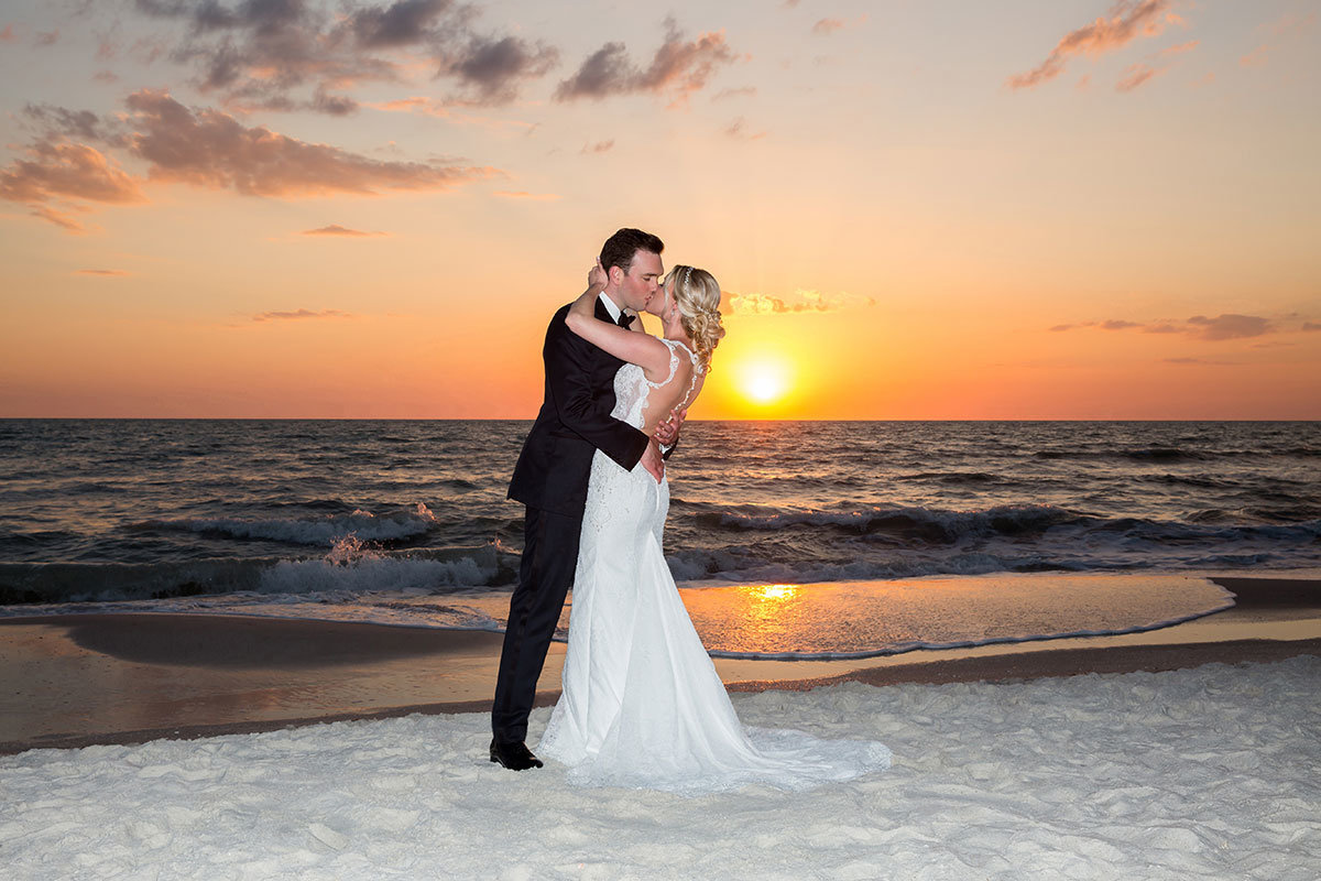 ritz carlton beach wedding naples florida sunset
