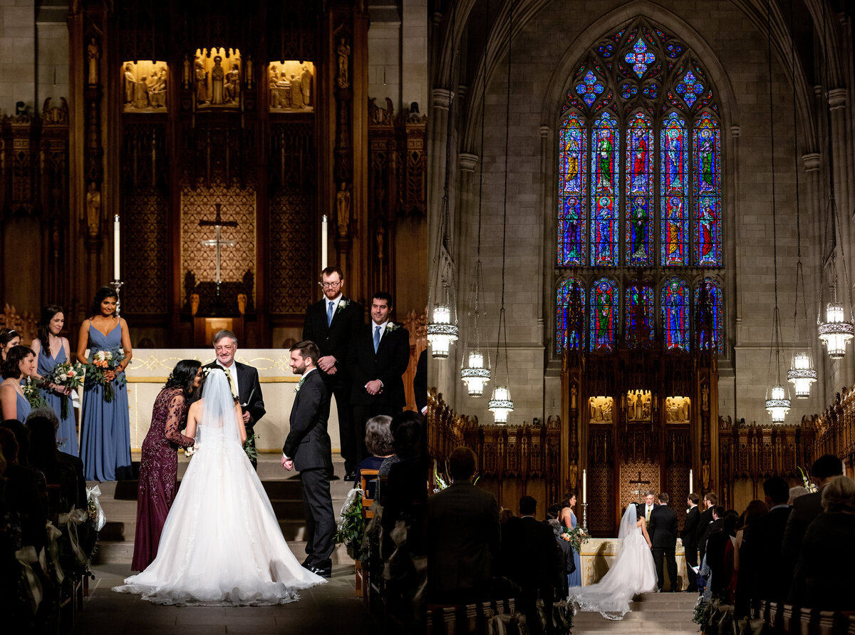 A wedding inside the Chapel at Duke University