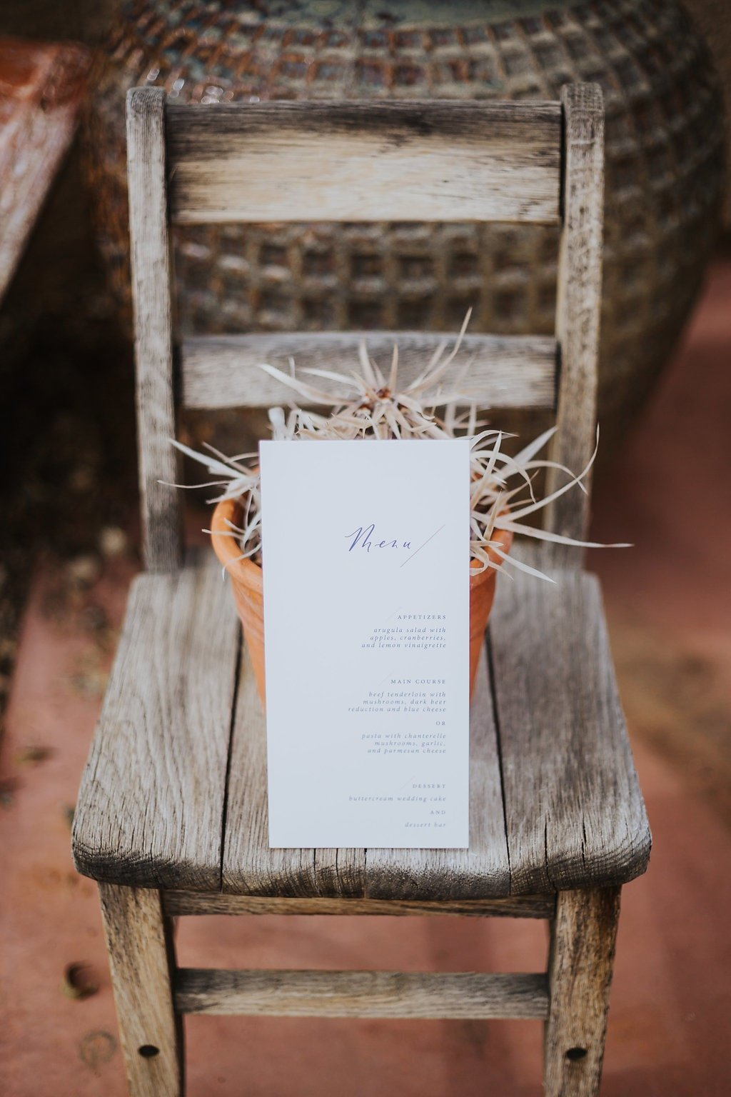minimal wedding calligraphy menu
