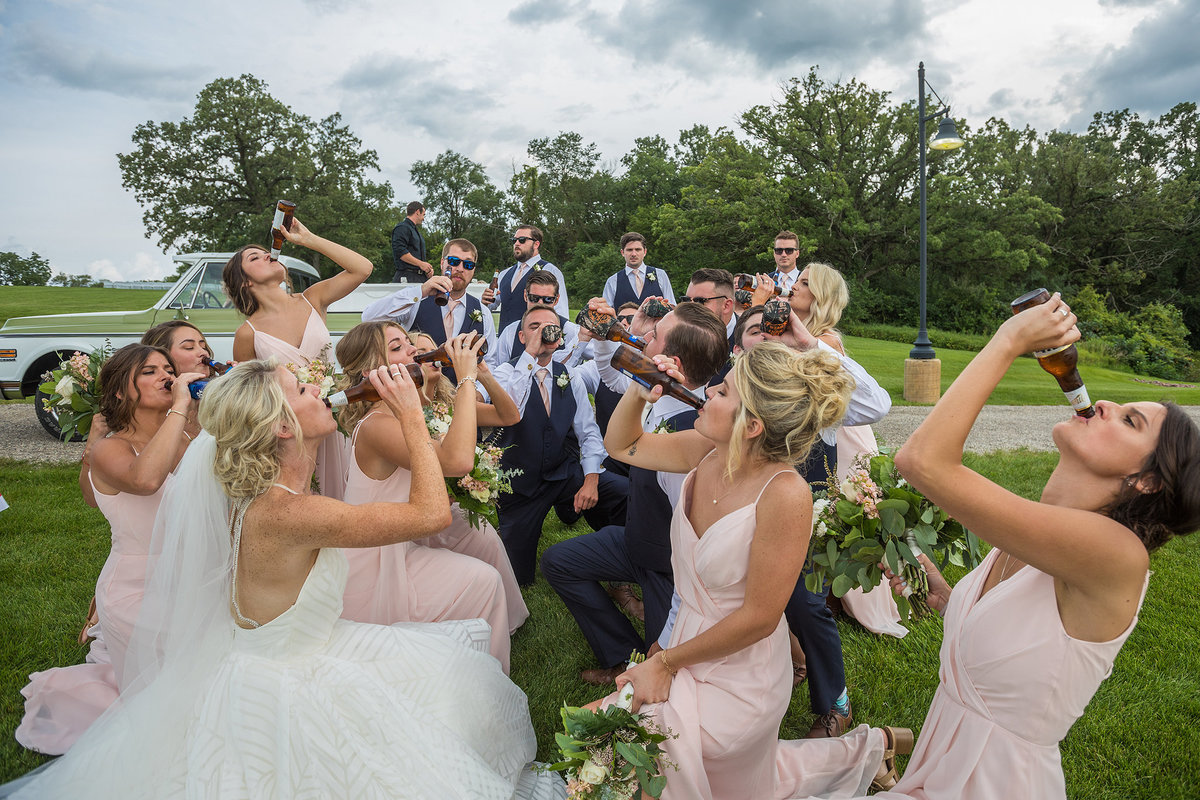 bridal party drinking during a wedding
