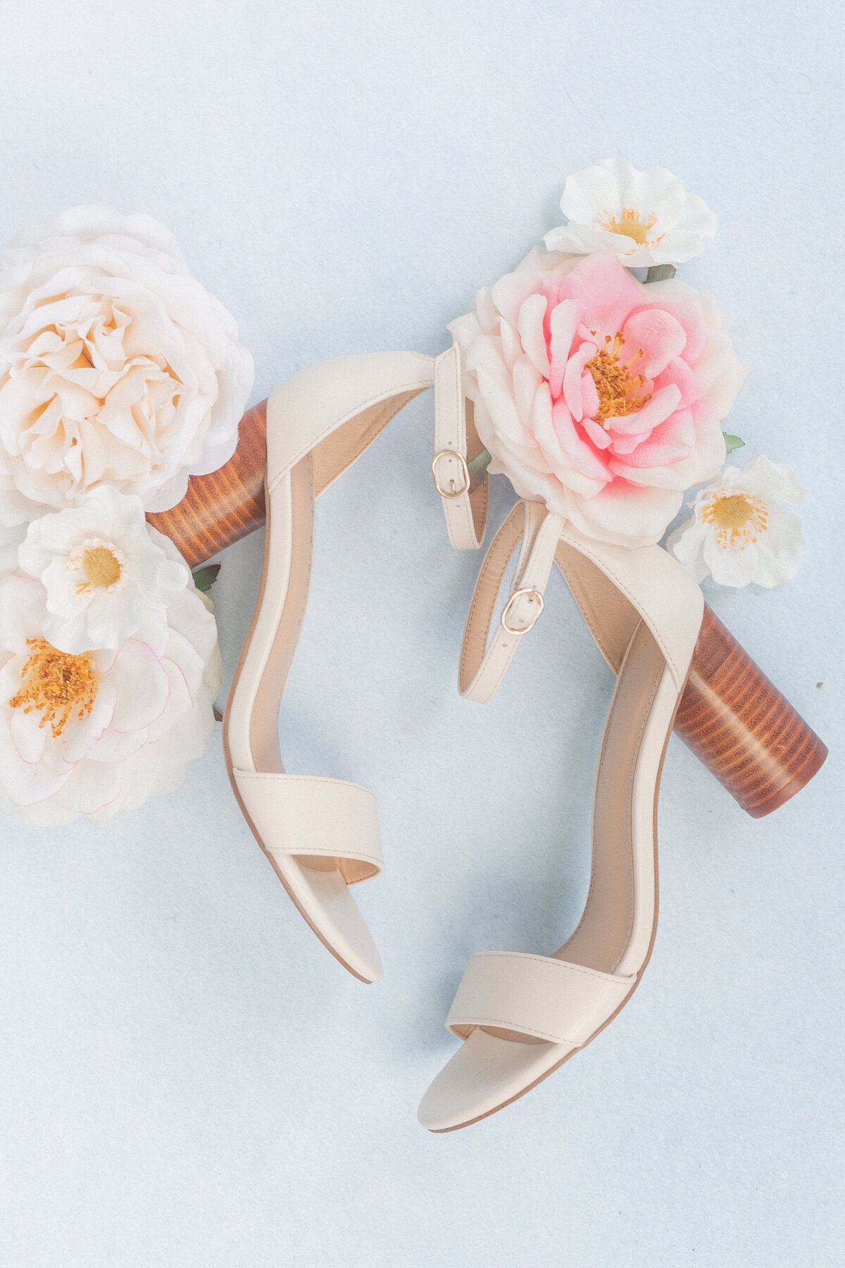 bridal shoes flatlay light and airy