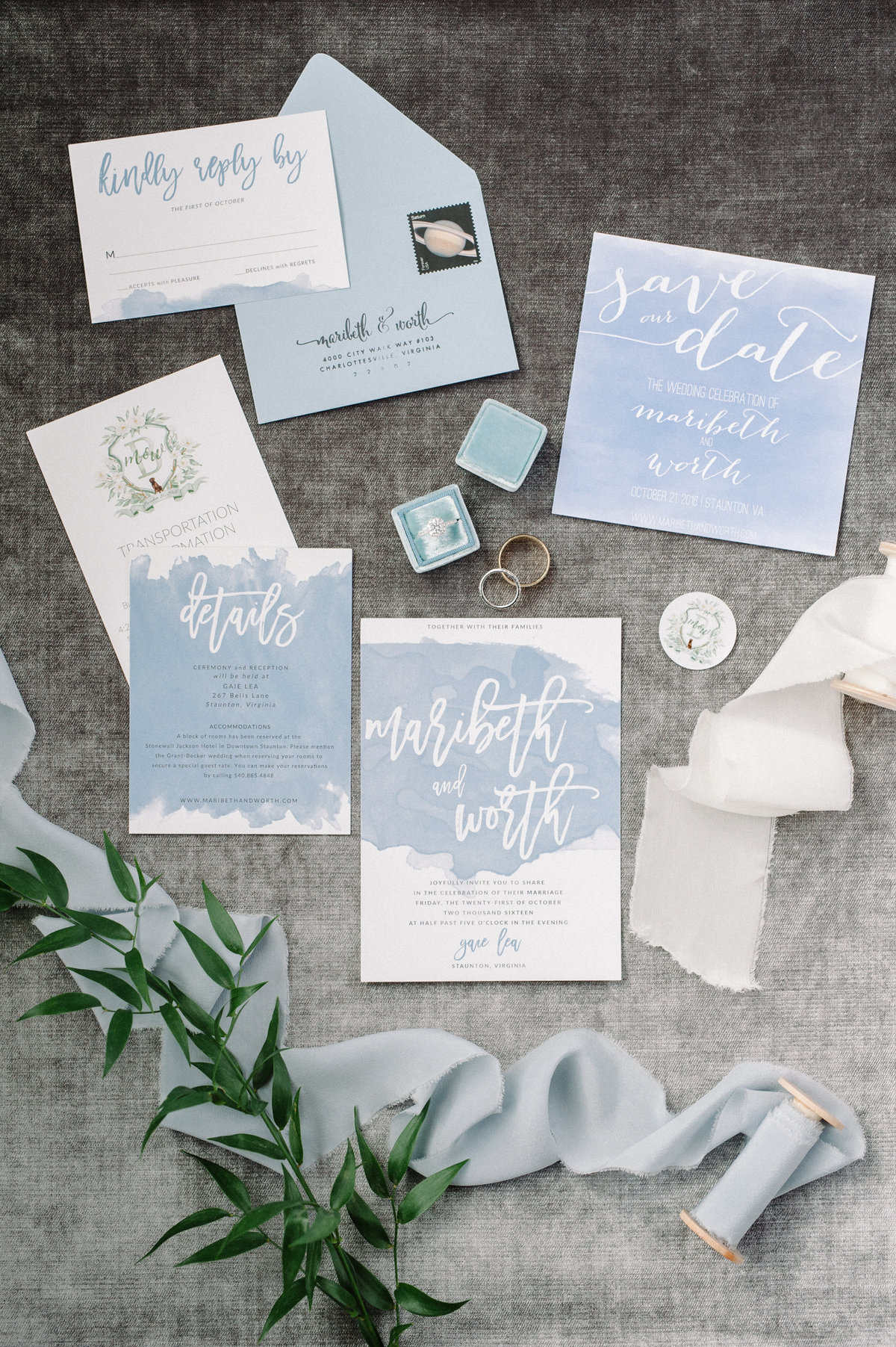 Blue wedding day stationery