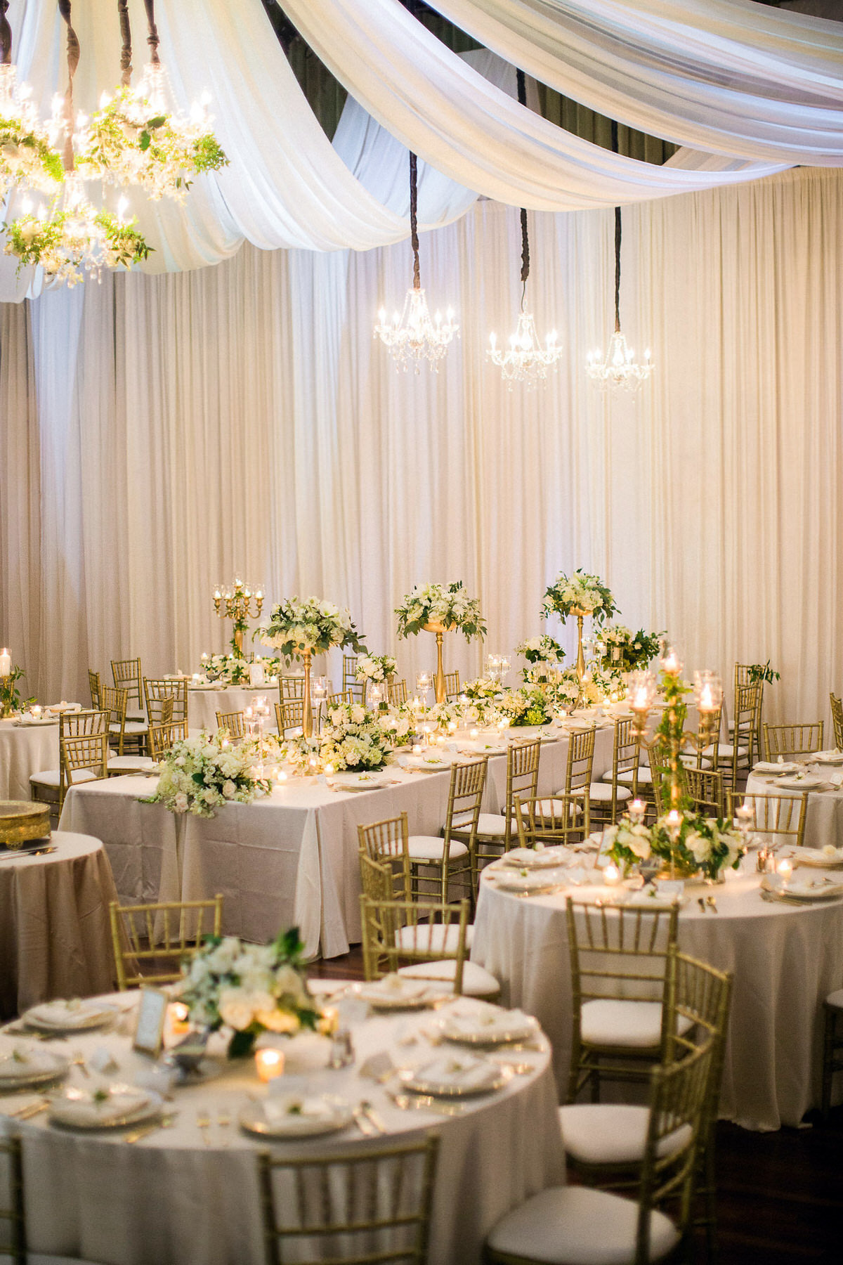 reception decor, white and gold wedding, draped ballroom