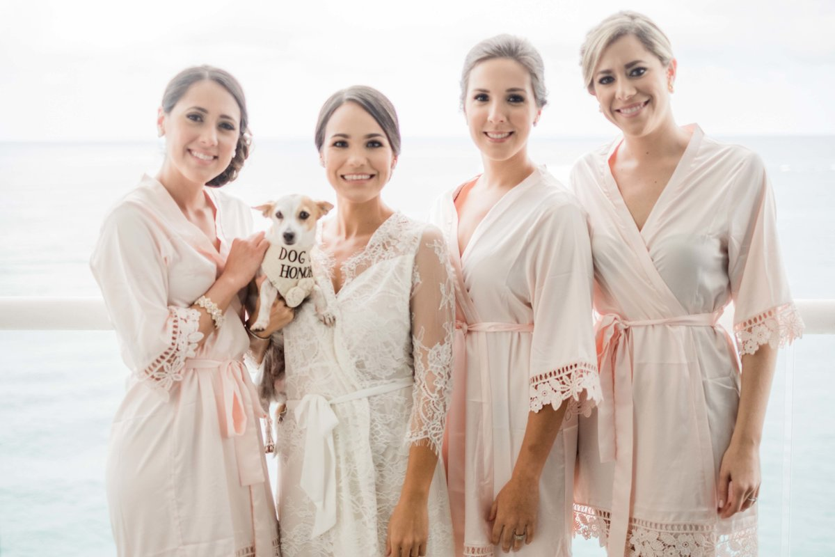 bridal party in cute robes