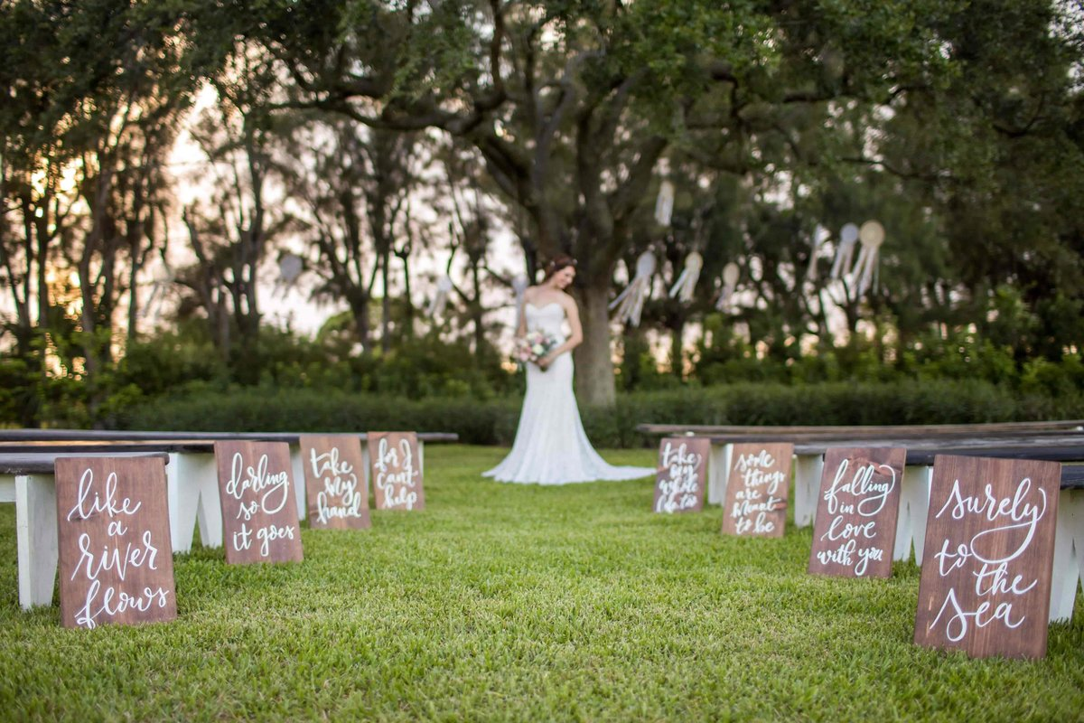wedding aisle sign calligraphy wood