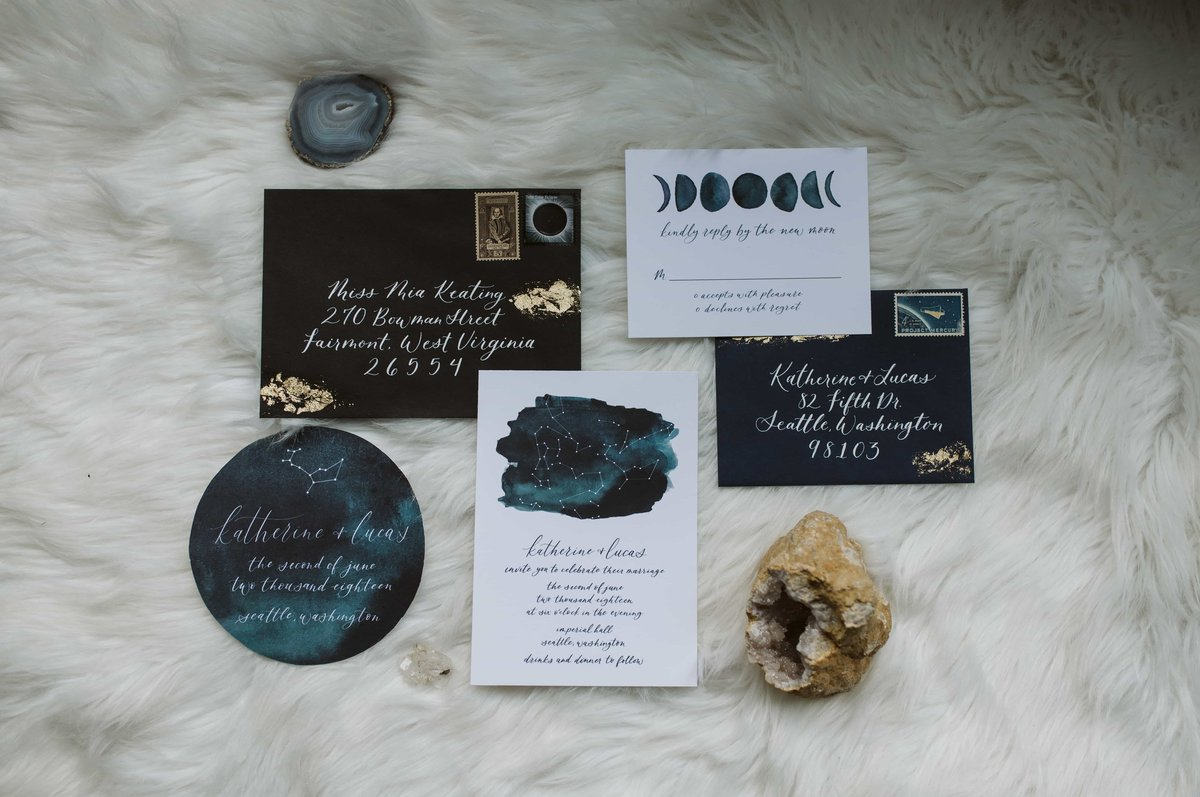 boho celestial invitation constellation