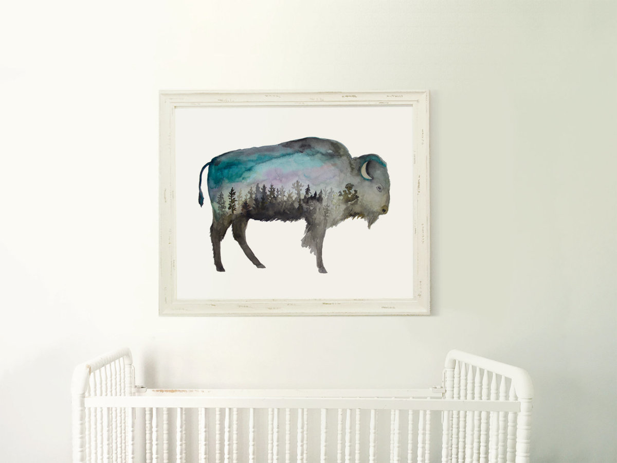 Galaxy_Buffalo_Bison_Profile_Mountain_Night_Printable_Artwork_-_Animal_Nursery_-_Watercolor_-_Northe-482233167-_1