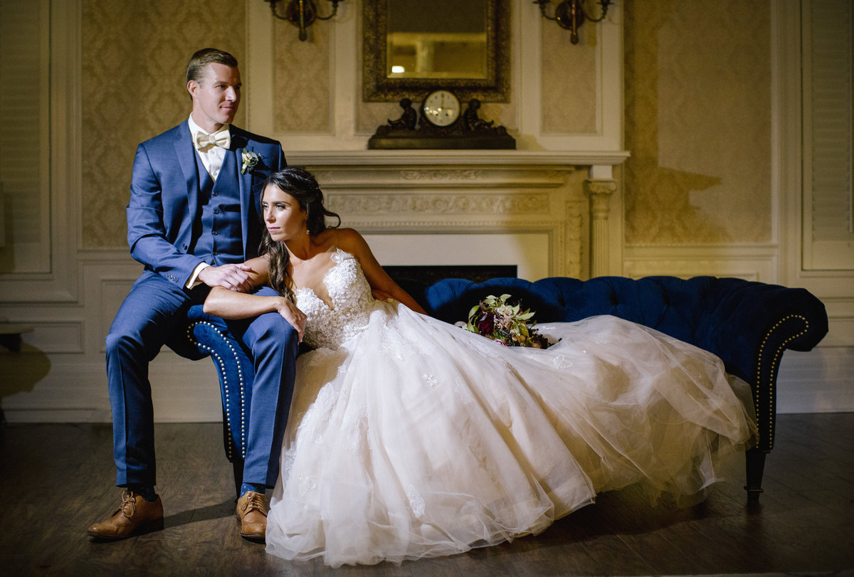 bride and groom in library at the shadowbrook at shrewsbury