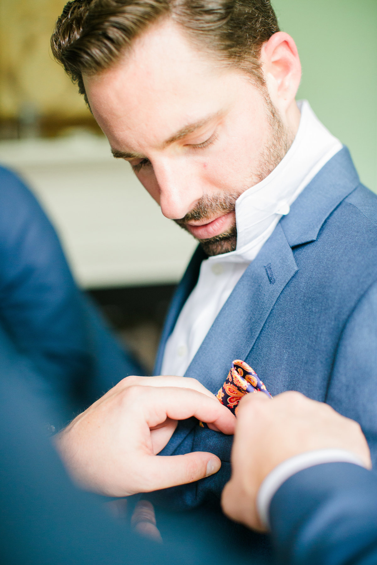 Groom and pocket square