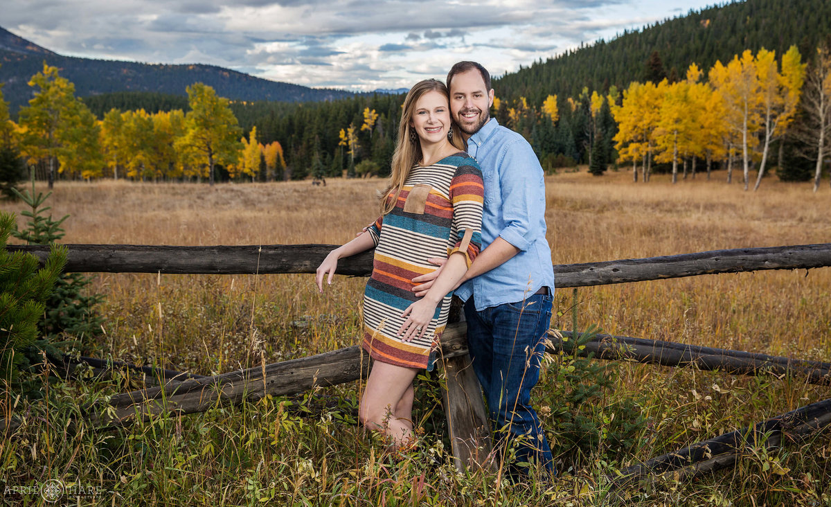 Evergreen Colorado Fall Color Engagement Photos