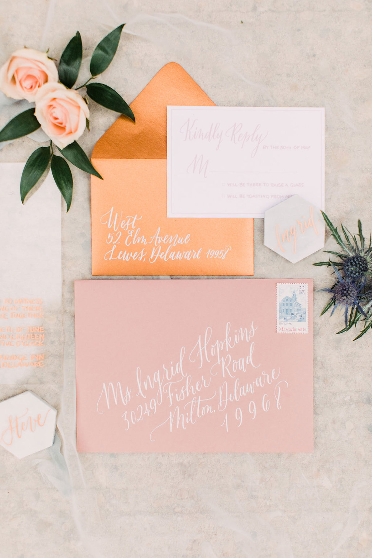 Blush wedding suite calligraphy by Lewes Lettering Co