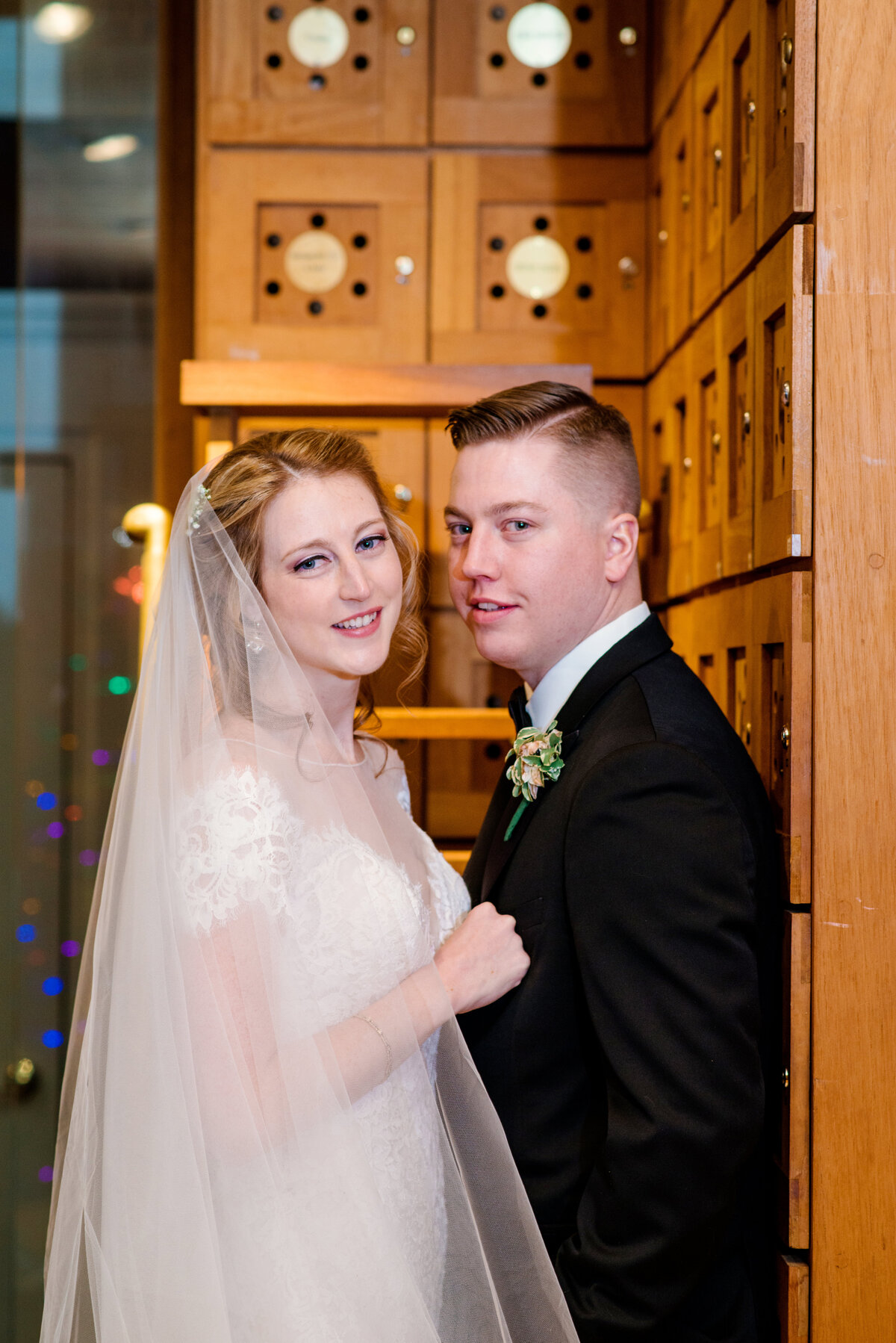 photo of bride and groom indoors from wedding reception at The Carltun