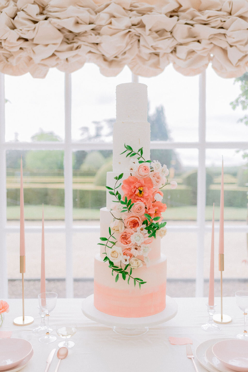 5 tier coral floral wedding cake Blenheim Palace | MonAnnie