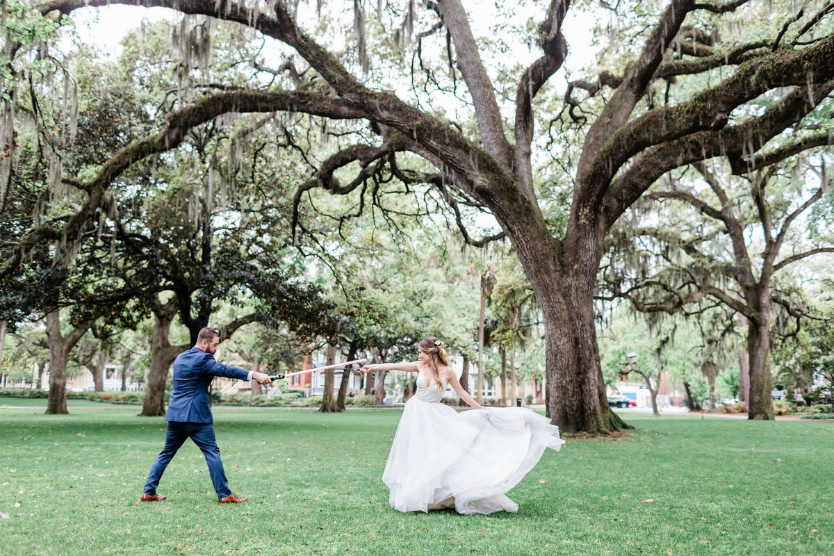 Bride and groom portraits in Forsyth Park by Apt. B Photography