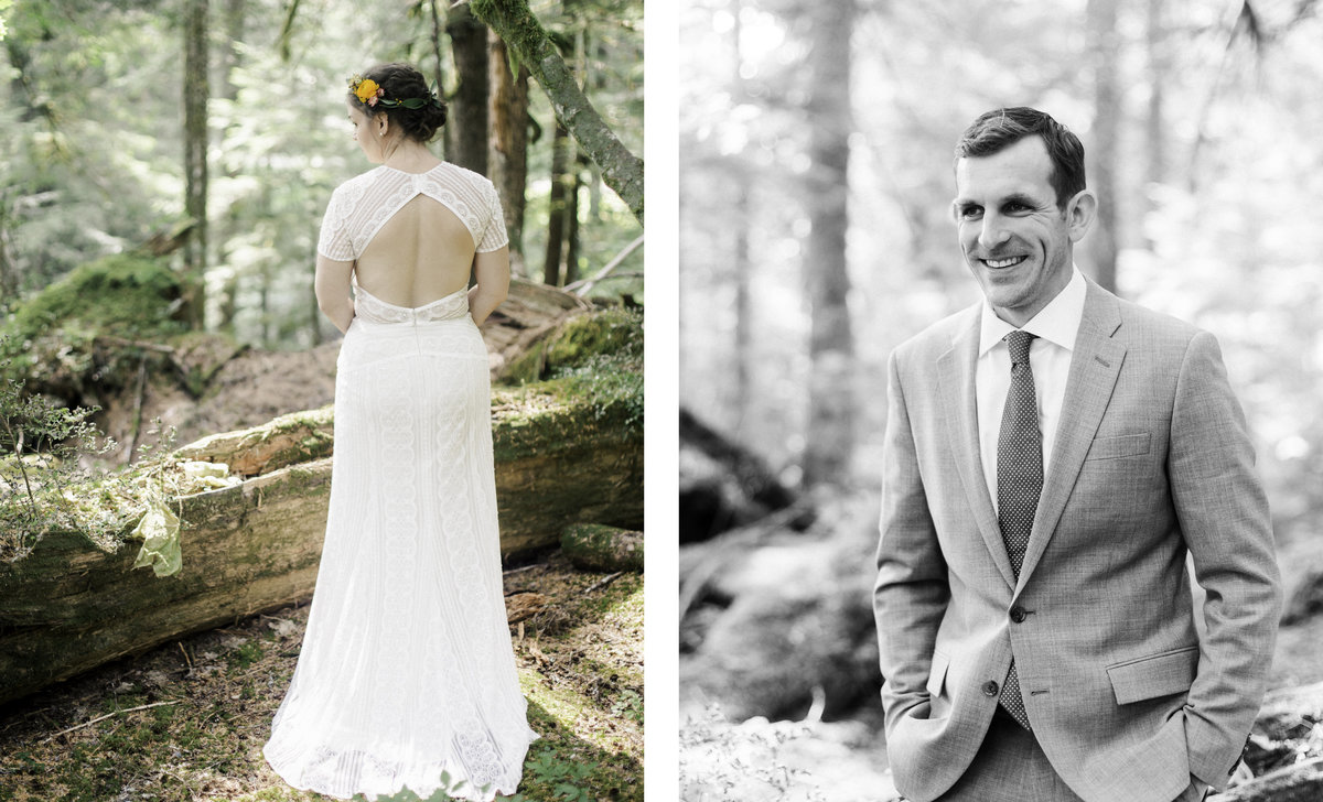 two photos one of bride standing with back turned for bridal details and another blank and white portrait of groom in the forest