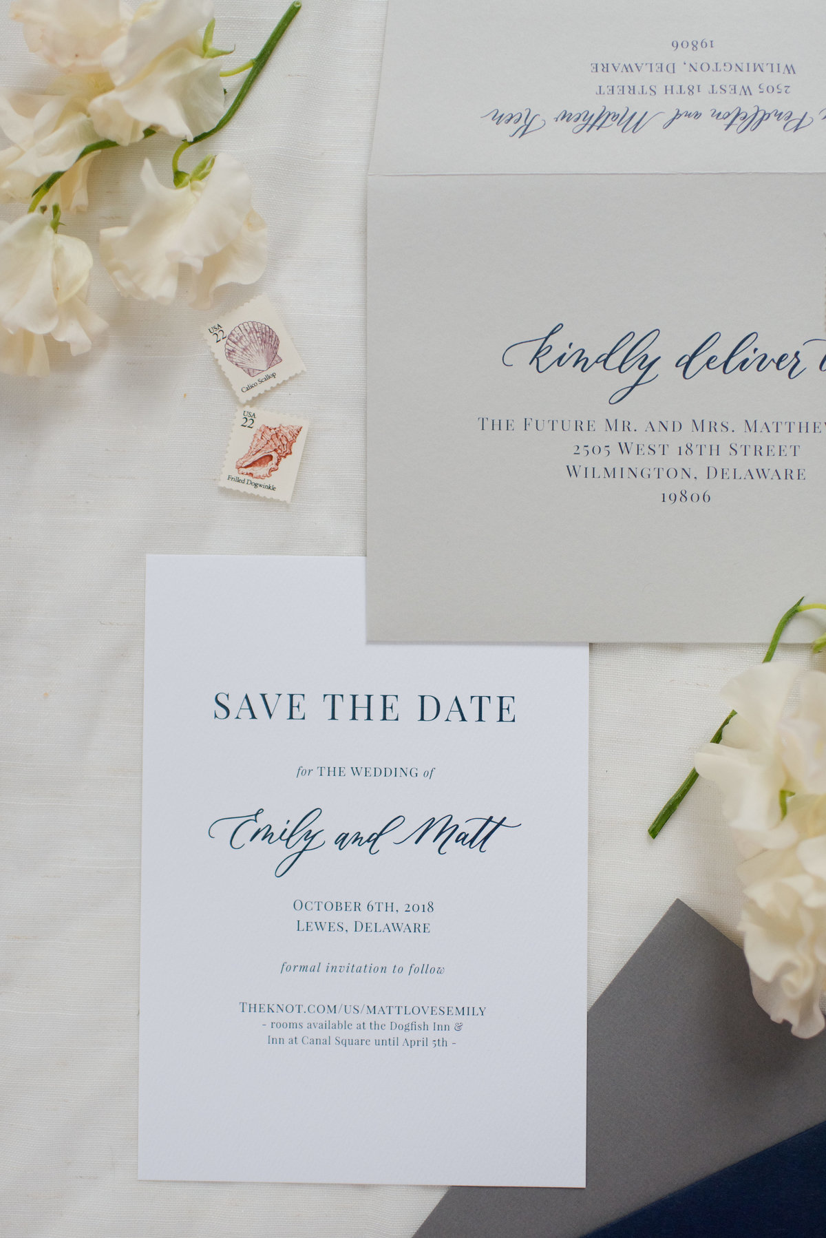 Clue ink save the date with custom calligraphy