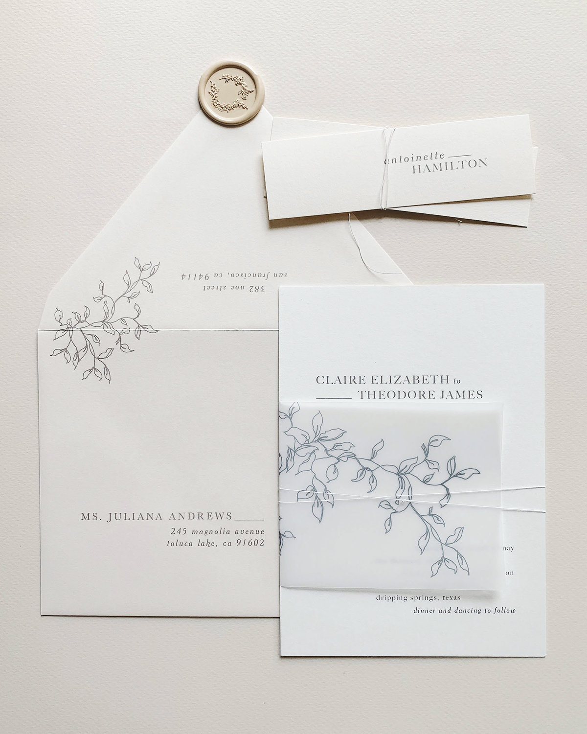 Dominique Alba wedding invitations collection minimalistic sereno suite
