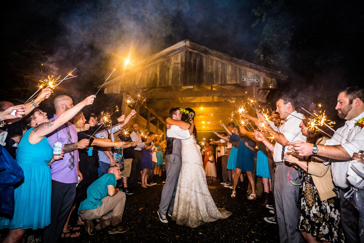 End of the night sparkler exit for the bride and groom wedding in philadelphia suburb