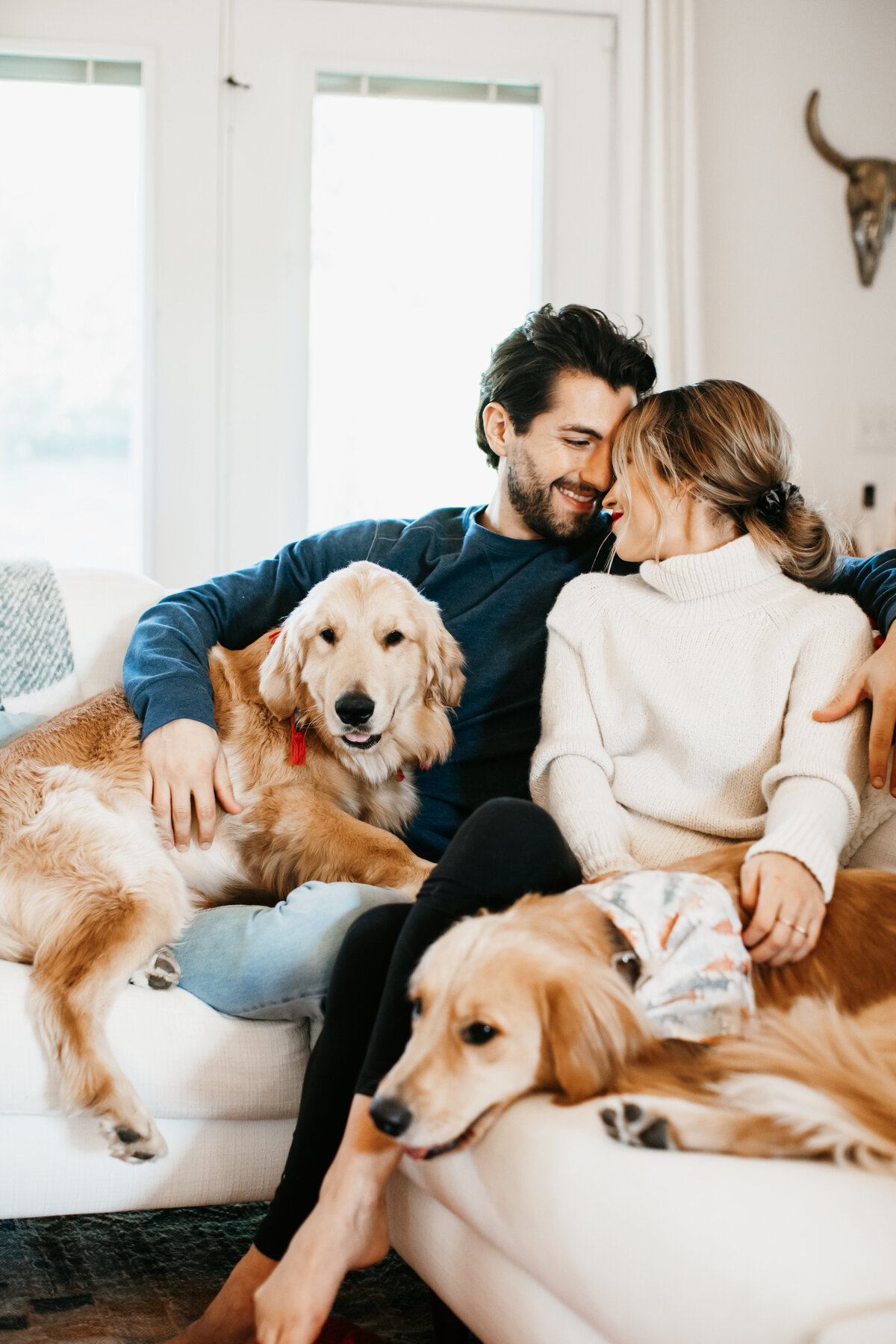 couple snuggling on the couch with their dogs in home