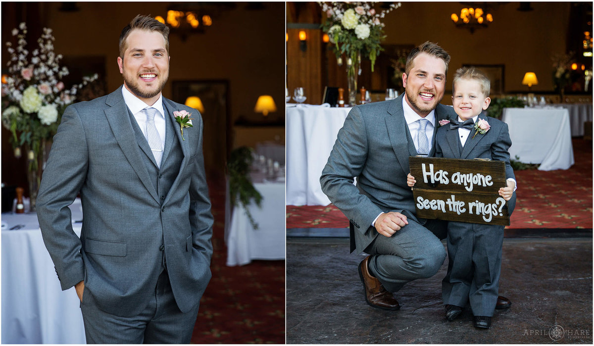 Groom portrait with ring bearer at Frost Creek Gold Club in Eagle Colorado