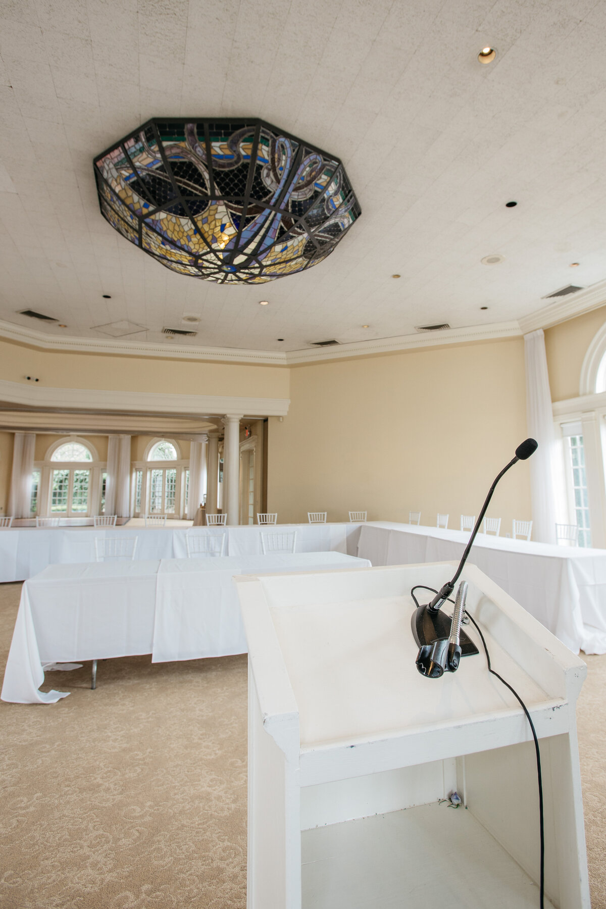 Vizcaya's Pavilion upgrades your conference room meeting space with our custom stain-glass chandelier and elegant room design.