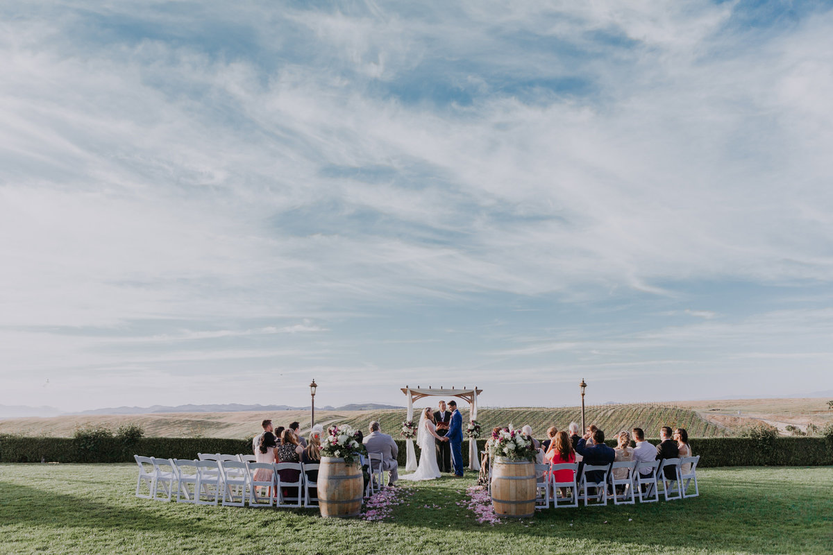 Callaway winery wedding pictures ceremony takes place overlooking vineyard