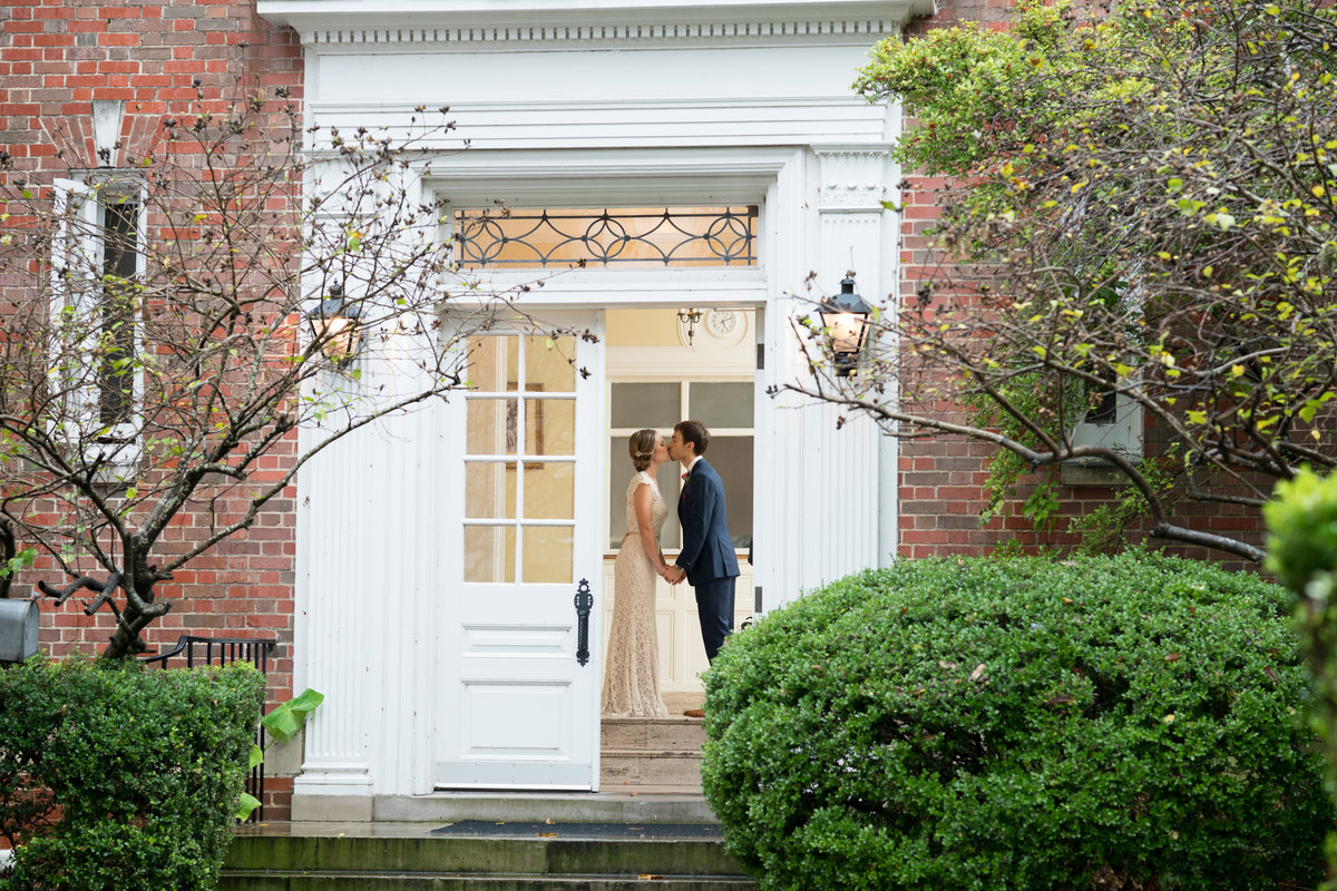 Washington D.C. wedding photographer bride groom kiss colonial home
