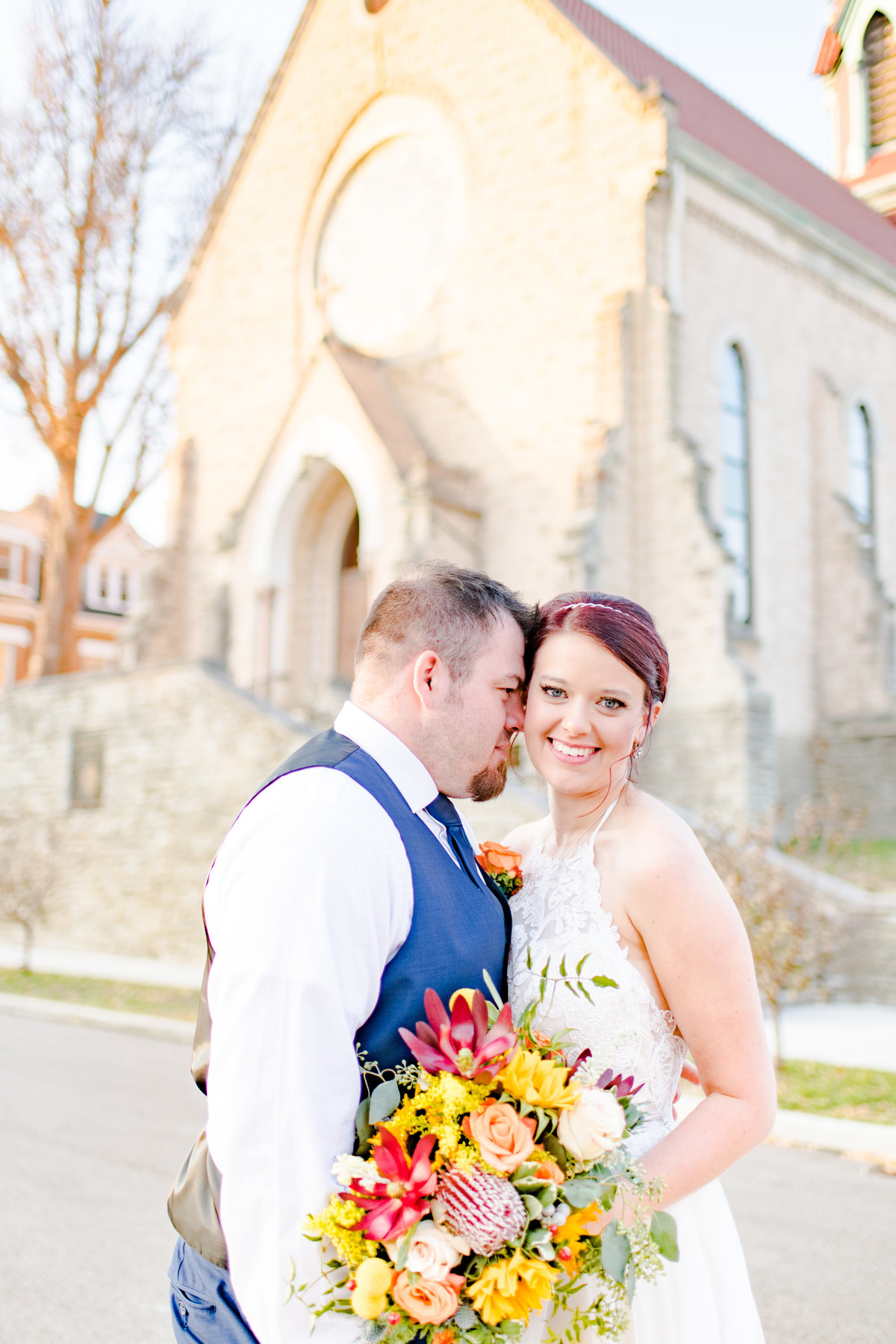 Couple Portraits Wedding Brewery Cincinnati Ohio Colorful Flowers-92