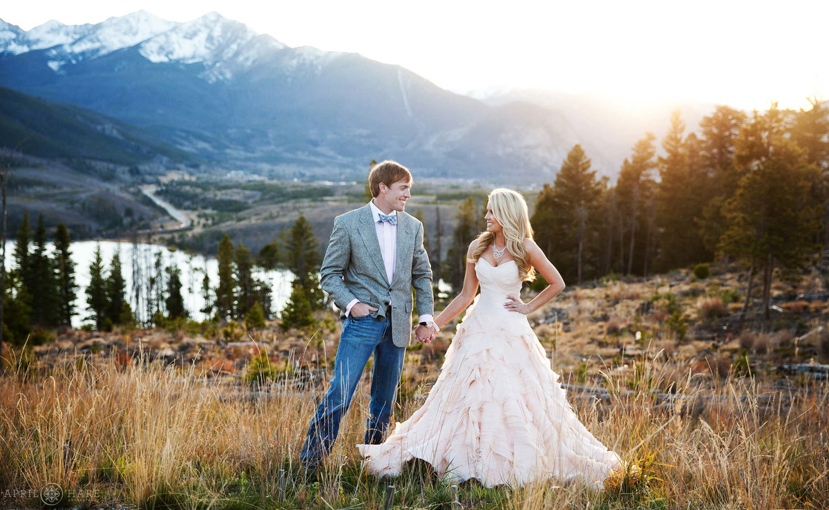 Pretty Sunset Wedding Portrait at Sapphire Point Dillon Colorado Mountain Wedding
