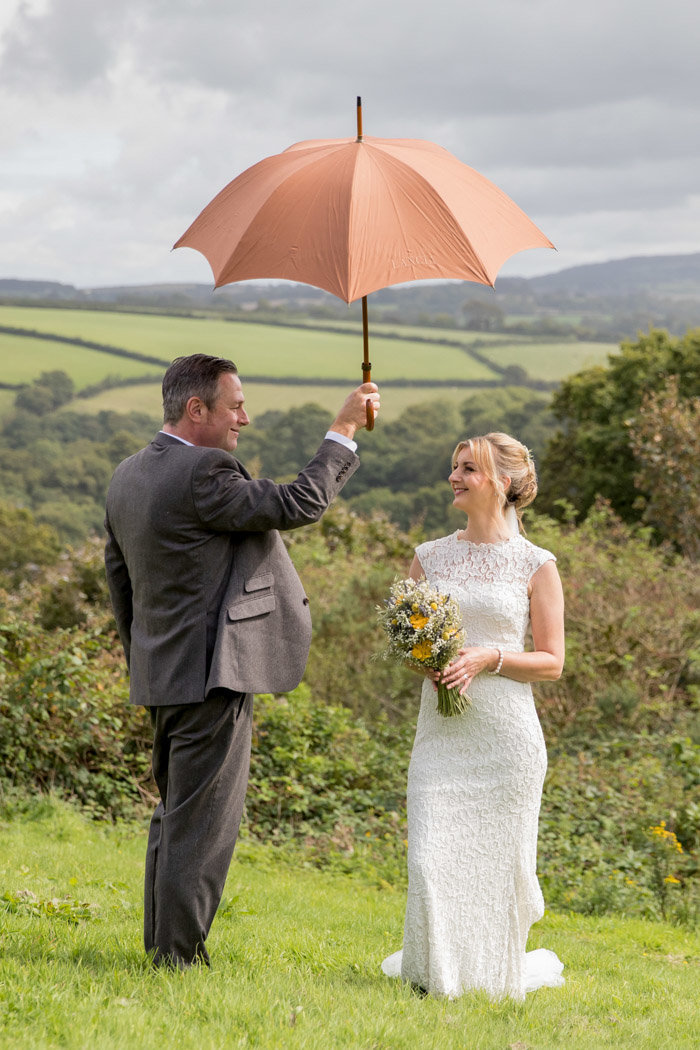 Rain on your wedding day at The Green in Cornwall