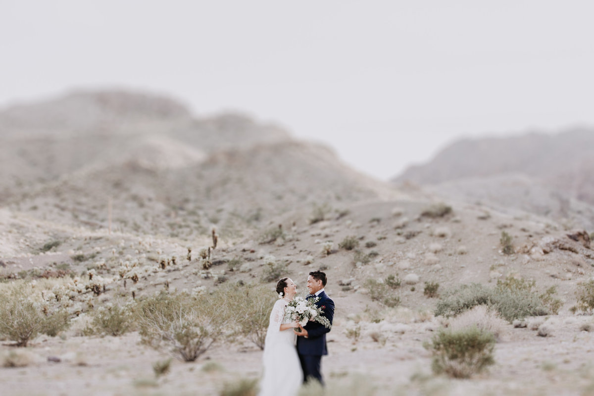 Lake Tahoe elopement photos bride and groom laugh together in the desert