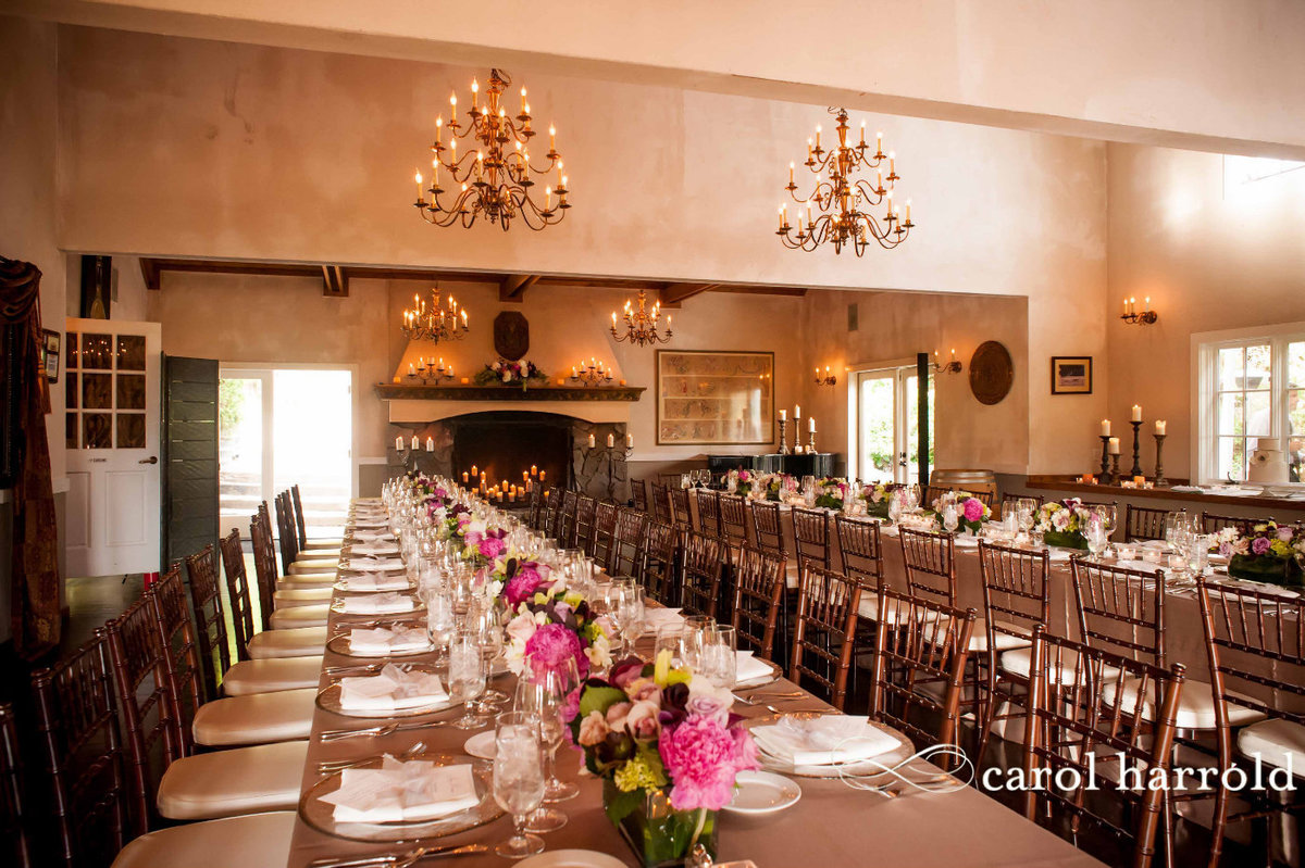 stylish dinner party setup with long reception tables at Chateau lill
