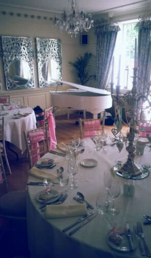 wedding pianist white baby grand piano eaves hall clitheroe lancashire